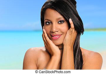 미국 사람 여자, 바닷가, african