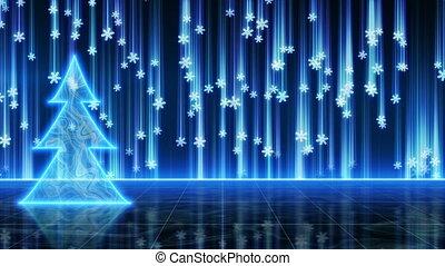 미래다, 나무, 파랑, 고리, 크리스마스