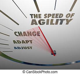 민첩, 속도계, 적응, 빨리, 속력, 변화