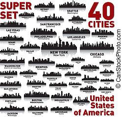 믿어지지 않는다, 상태, 결합되는, set., 지평선, 도시, america.
