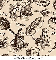 밑그림, 포도 수확, pattern., seamless, 삽화, 손, 빵집, 그어진