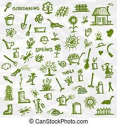 밑그림, spring., 정원 디자인, 도구, 너의
