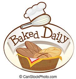 바구니, 빵 부스러기를 묻힌다, 굽, 매일, 상표