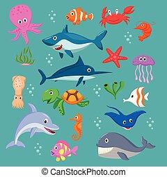 바다, 세트, 동물, 만화