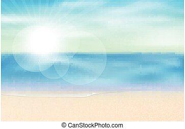 바다, 여름, 보이는 상태, 계절, 벡터, 배경