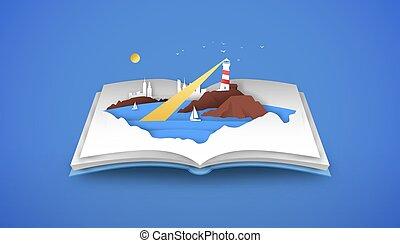 바다, 열려라, 해안, 바닷가, 책, 3차원, papercut