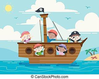 바다, 파도, 배, 키드 구두, 삽화, 해적