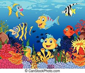 바다, fish, 만화, 혼자서 젓는 길쭉한 보트, 인생