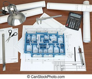 바닥, 집, 탁상용 컴퓨터, 지방의 정제, architect., 모델, 3차원