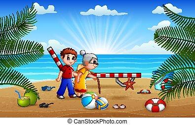바닷가, 그의 것, 행복하다, 소년, 할머니