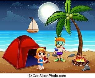 바닷가, 밤, 아이들, 가지고 있는 것, 장면, 재미
