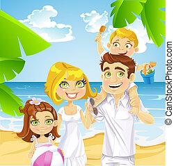 바닷가, 아이들, 가족