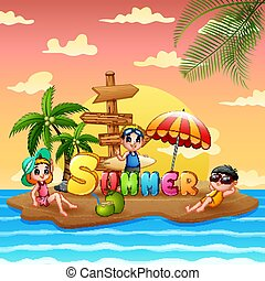 바닷가, 아이들, 여름, 섬, 휴일
