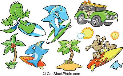 바닷가, 여름, 벡터, 세트, 파도타기