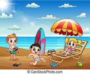 바닷가, 열대적인, 아이들, 여름 휴가