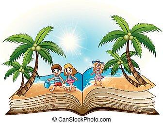 바닷가, 책, 열려라, 아이들, 행복하다