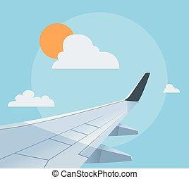 바람 빠진 타이어, 비행기, 삽화