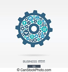 바람 빠진 타이어, 아이콘, 마케팅, cogwheel, 우주기계론, 모양, 연구, analytics, 임무, 사업, concepts., 전략