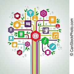 바람 빠진 타이어, 학교, 네트워크, 아이콘, 밀려서, 나무., 교육