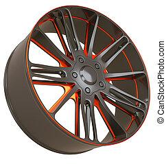 바퀴, 고립된, 정면, 합금, 옆의 보기