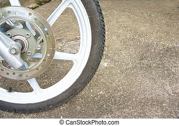 바퀴, 늙은, 평원반, 검정, 마그네슘, 합금, 브레이크, 오토바이