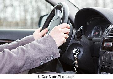 바퀴, 땅, 손, 여성, 차량, 조타