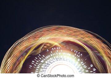 바퀴, 빛, 나룻배, 길게 나부끼다, 밤