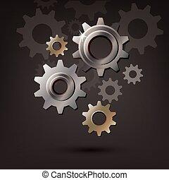 바퀴, 장치, cogwheel, 기계, 벡터, 아이콘