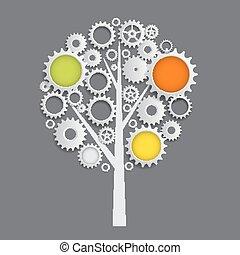 바퀴, 장치, cogwheel, 나무, 삽화, 기계, 벡터, concept.