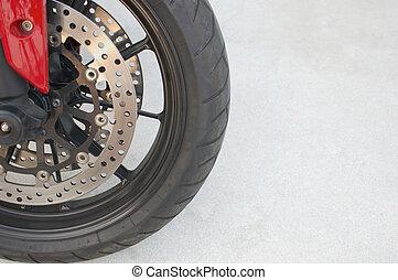 바퀴, 평원반, 브레이크, 마그네슘, 합금, 까만 빨강, 오토바이