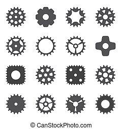 바퀴, cogwheel., illustration., 기계, 벡터, 장치
