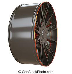 바퀴, sportcar, 고립된, 또는, 평원반, 합금, 옆의 보기