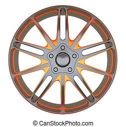 바퀴, sportcar, 고립된, 평원반, 합금, 또는