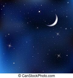 밤 하늘, 은 주연시킨다, 달