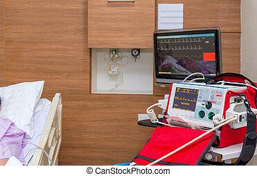 방, 병원, equipments, defibrillator, 내과의, icu