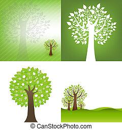 배경, 나무, 녹색