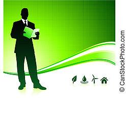 배경, 남자, 녹색의 비즈니스, 환경