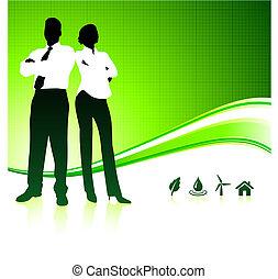 배경, 녹색의 비즈니스, 환경, 팀