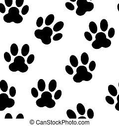 배경, 발, 패턴, seamless, 삽화, 벡터, 동물