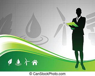 배경, 여자, 녹색의 비즈니스, 환경