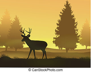 배경, 자연, 사슴