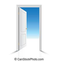 백색, 문, 열는
