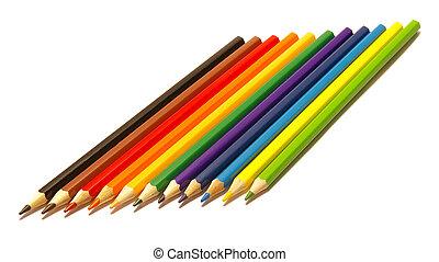 백색, 연필, 은 색깔을 고립시켰다