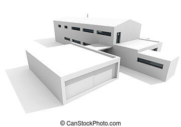 백색, 현대, 배경, 집, 3차원