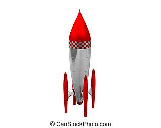 백색, 3차원, 배경, 로켓, 빨강