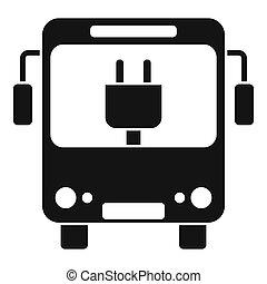 버스, 도시, eletrical, 스타일, 아이콘, 단일의