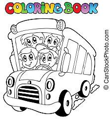 버스, 칠하기 그림책, 아이들
