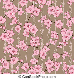 버찌, 꽃, 패턴, seamless, 벗나무, 꽃
