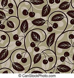 버찌, 잎, seamless, 배경