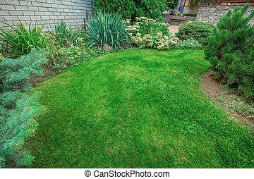 버r언니xx, landscaping., 야드, 정원, beautifully, annuals., 정면, 가득하다, 매니큐어를 칠하게 된다